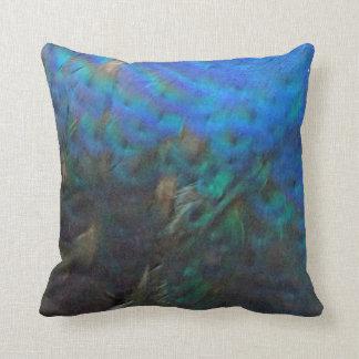 plumas del peafowl azul y verde almohada