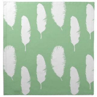 Plumas del verde menta y blancas servilleta