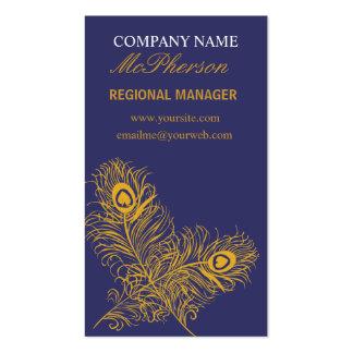 Plumas elegantes del pavo real del oro plantilla de tarjeta de negocio