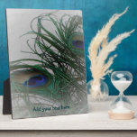Plumas elegantes pálidas del pavo real del © P Whe Placa De Plastico