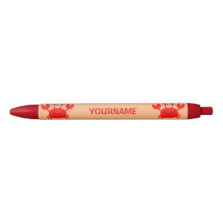 Plumas felices del personalizado del cangrejo boligrafo tinta roja
