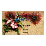 Plumas, flores y helechos tarjeta de visita