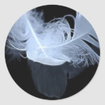 Plumas gemelas y reflexión de la llama pegatina redonda