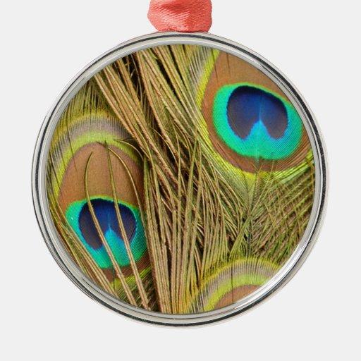 plumas hermosas del pavo real ornamento para arbol de navidad
