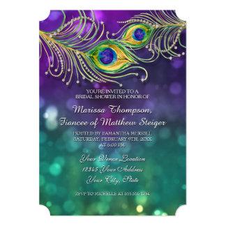 """Plumas Jeweled pluma nupcial del pavo real de la Invitación 5"""" X 7"""""""