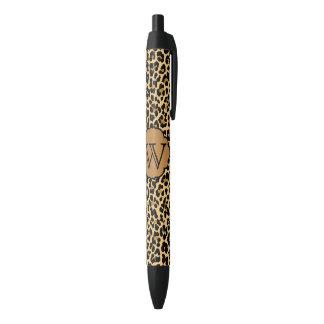 Plumas personalizadas del estampado leopardo del boligrafo tinta negra