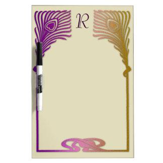 Plumas púrpuras del pavo real del art déco del oro pizarras blancas