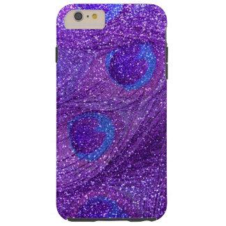 plumas púrpuras del pavo real del brillo del añil funda resistente iPhone 6 plus