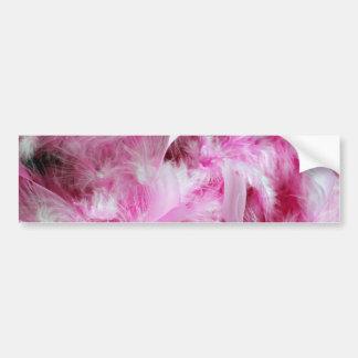 Plumas rosadas del marabú etiqueta de parachoque
