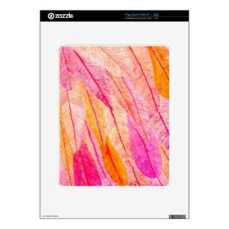 Plumas rosadas y anaranjadas skins para eliPad