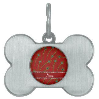 Plumas swirly rojas conocidas personalizadas del placa de nombre de mascota
