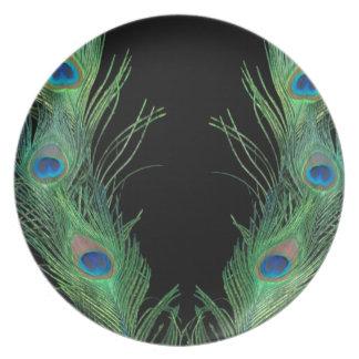 Plumas verdes con negro platos