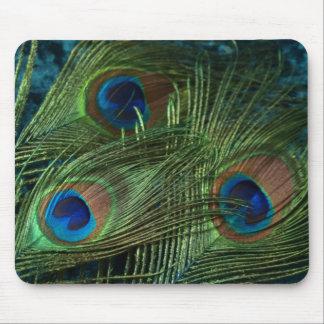 Plumas verdes del pavo real tapete de ratones