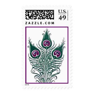 Plumas verdes y púrpuras del pavo real del boda sellos