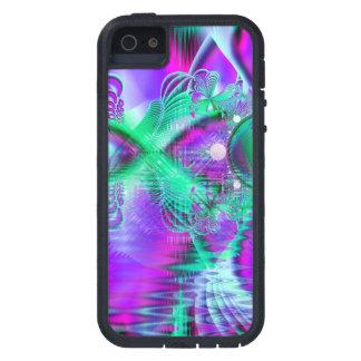 Plumas violetas del pavo real, menta cristalina iPhone 5 carcasa