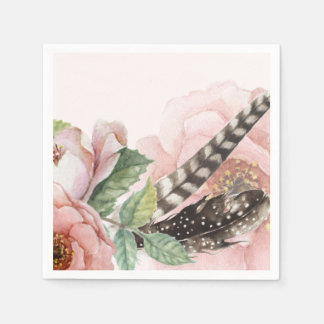 Plumas y flores de Boho Servilleta De Papel