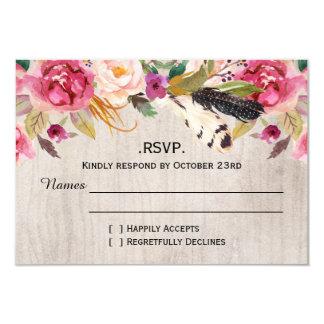 """Plumas y flores rústicas RSVP Invitación 3.5"""" X 5"""""""