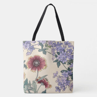 Plumbago and Gaillardia Flowers Japanese Fine Art Tote Bag