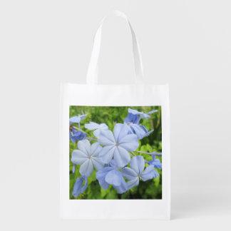 Plumbago Flower Blue Grocery Bags