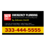 Plumber - 24 HOUR EMERGENCY PLUMBING SERVICES Business Card Templates