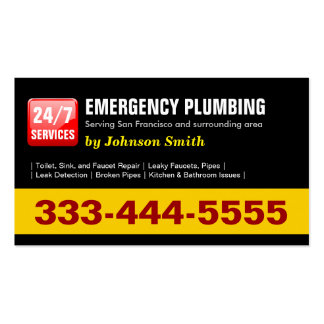 Plumber - 24 HOUR EMERGENCY PLUMBING SERVICES Double-Sided Standard Business Cards (Pack Of 100)