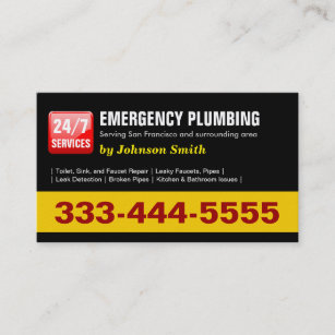 Toilet business cards zazzle plumber 24 hour emergency plumbing services business card colourmoves