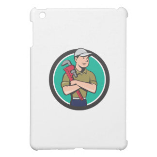 Plumber Arms Crossed Circle Cartoon Cover For The iPad Mini