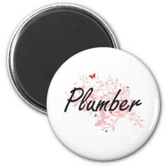 Plumber Artistic Job Design with Butterflies 2 Inch Round Magnet