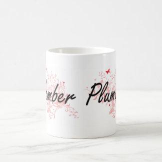 Plumber Artistic Job Design with Butterflies Coffee Mug