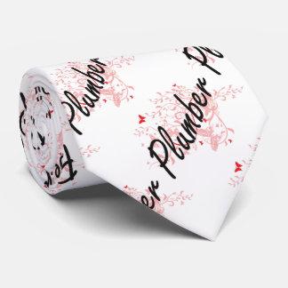 Plumber Artistic Job Design with Butterflies Tie