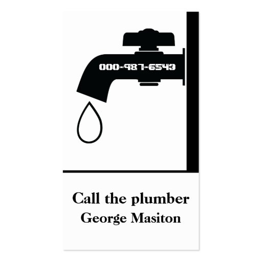 Plumber black white tap eye-catching plumbing business card template