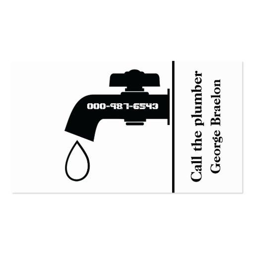 Plumber black white tap eye-catching plumbing business card templates