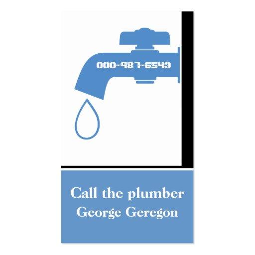 Plumber blue, white tap eye-catching plumbing business cards