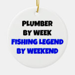 Plumber by Week Fishing Legend by Weekend Double-Sided Ceramic Round Christmas Ornament