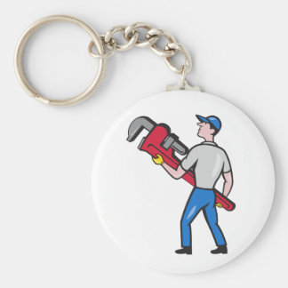 Plumber Carry Monkey Wrench Walking Cartoon Basic Round Button Keychain