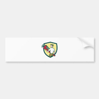 Plumber Carry Monkey Wrench Walking Crest Cartoon Bumper Sticker