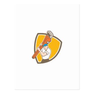 Plumber Carrying Monkey Wrench Shield Cartoon Postcard