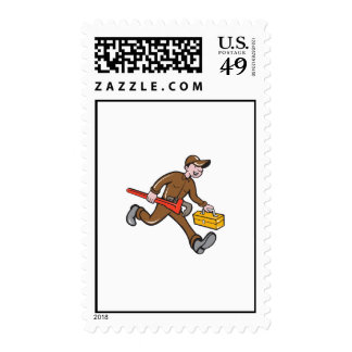 Plumber Carrying Monkey Wrench Toolbox Cartoon Postage