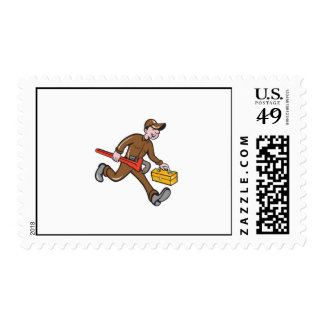 Plumber Carrying Monkey Wrench Toolbox Cartoon Stamps