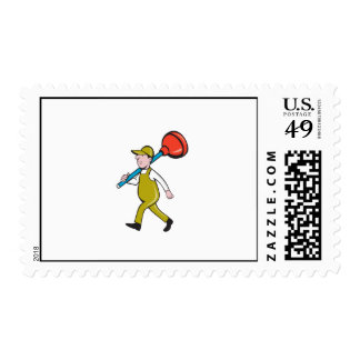 Plumber Carrying Plunger Walking Isolated Cartoon Stamp