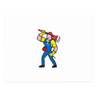 Plumber Carrying Wrench Plunger Cartoon Postcards