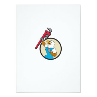 Plumber Eagle Raising Up Pipe Wrench Circle Cartoo Card