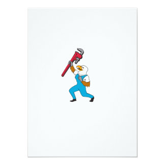 Plumber Eagle Standing Pipe Wrench Cartoon Card