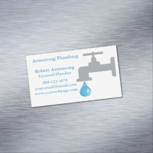Water drop business cards templates zazzle plumber faucet water drop business card magnet colourmoves