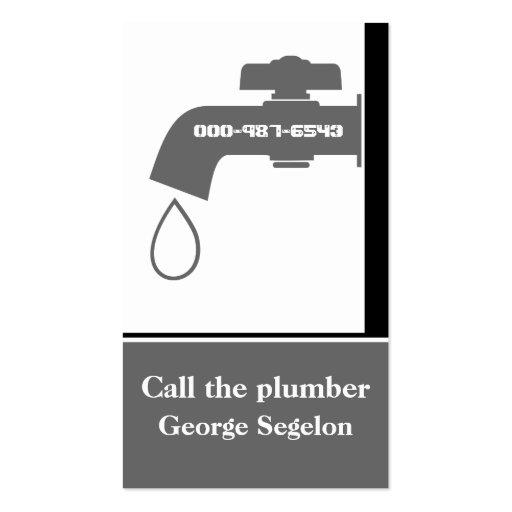 Plumber grey, white tap eye-catching plumbing business card template