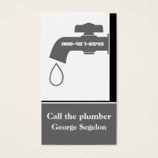 Plumber grey, white tap eye-catching plumbing business card