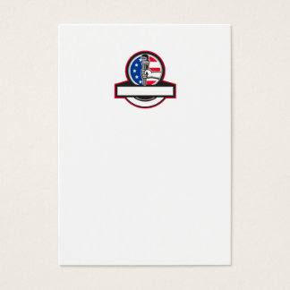 Plumber Hand Holding Pipe Wrench Flag Circle Banne Business Card