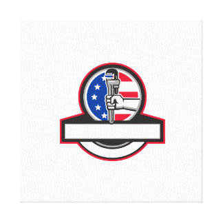 Plumber Hand Holding Pipe Wrench Flag Circle Banne Canvas Print
