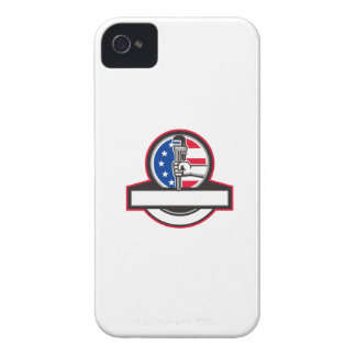 Plumber Hand Holding Pipe Wrench Flag Circle Banne iPhone 4 Case