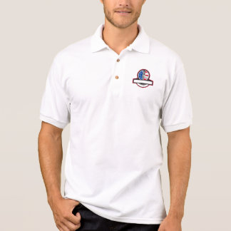 Plumber Hand Holding Pipe Wrench Flag Circle Banne Polo Shirt